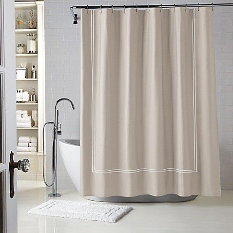Wamsutta Baratta Stitch Shower Curtain Guest Bathroom Essentials Fabric Shower Curtains White Shower Curtain