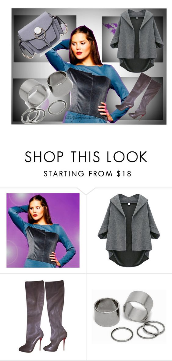 Shades of Grey.... by louisaokonye on Polyvore featuring Christian Louboutin, Pieces, Louisa Okonye  Use coupon code PINT10 to save 10% on this dress in my Etsy Shop #dress #grey #fashion
