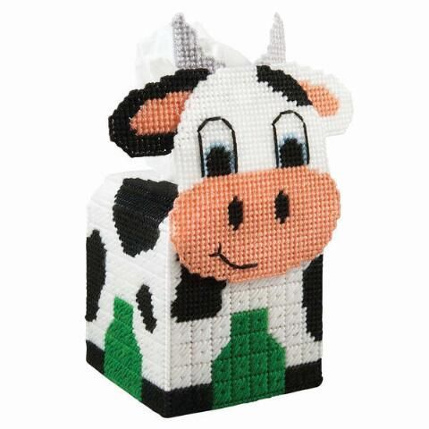 Barn Tissue Topper-Pig Cow-Plastic Canvas Pattern or Kit