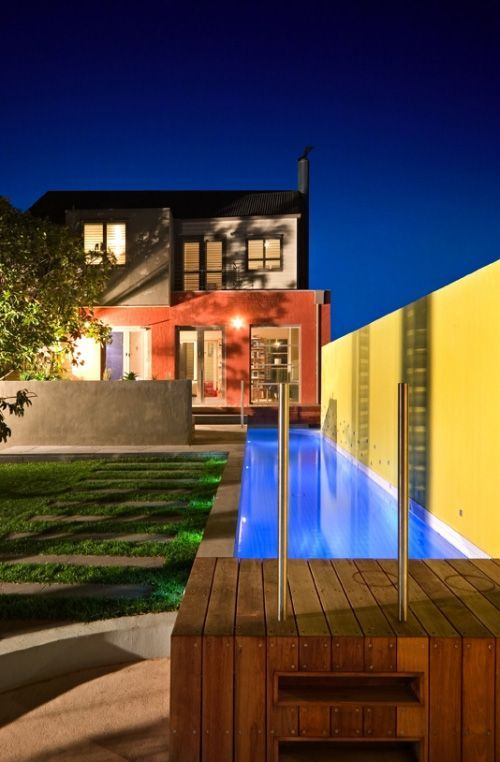 Yellow Swimming Pool With Narrow Size For The Small Sized Yard By Out From  The Blue | Modern Pool Hall | Pinterest | Swimming Pools, Modern Pools And  Modern