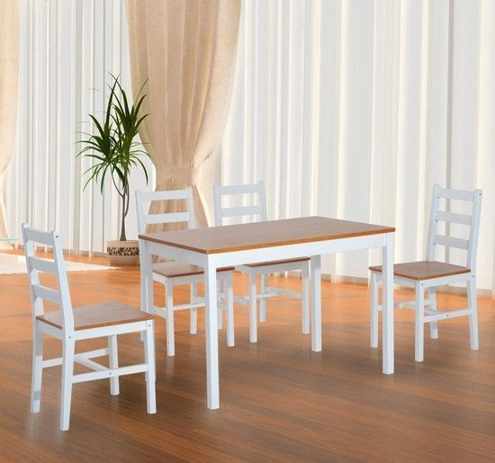 4 Seater Dining Set Rectangular Table Chairs White Honey Color