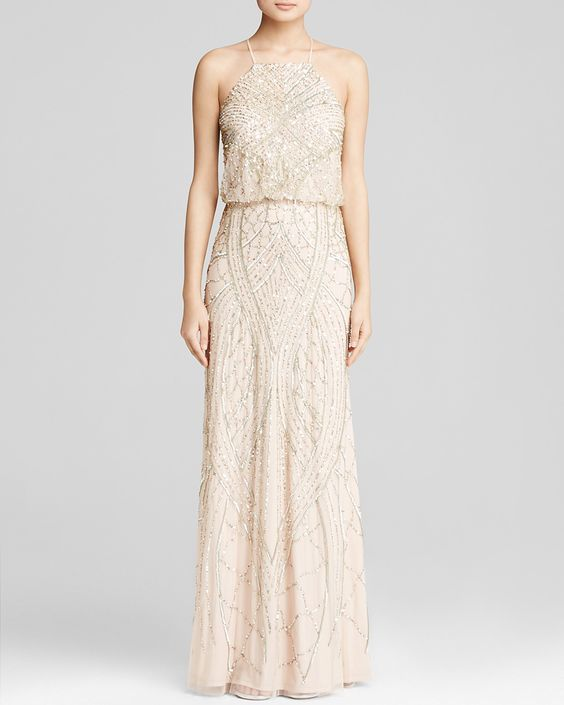 Adrianna Papell Gown - Sleeveless High Neck V-Back Beaded Blouson | Bloomingdale's