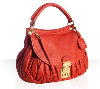 ShopStyle: Miu fire red quilted leather 'Matelasse' shoulder bag I love that the texture looks like a knit