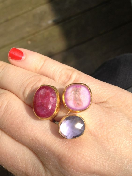 Ruby, Light amethyst and Pink drusy three stone ring....Lily Guy Jewellery www.lilyguyjewellery.com