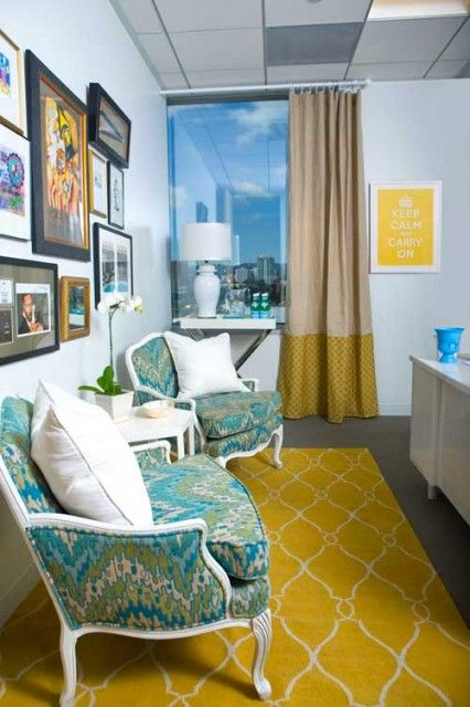 Hello yellow....Surya rug, gorgeous reupholsrty fabric at http://lelandswallpaper.com