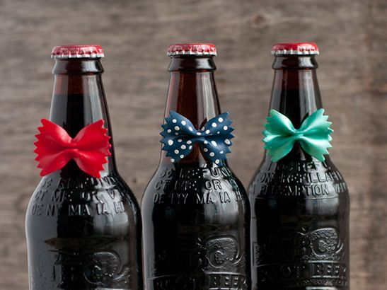 Adorn Dad's favorite beer with painted bowtie pasta for a Father's Day craft with the kids!