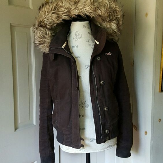 Hollister faux fur lined jacket So warm and comfortable. Love the large hood as well.   Small matted area you can see from the over all view and then up close so you can make the decision yourself.   I love it but unfortunately I grew out of it. Hollister Jackets & Coats