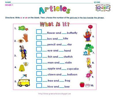 Free Printable English Grammar Worksheets For Grade 1 - Laptuoso