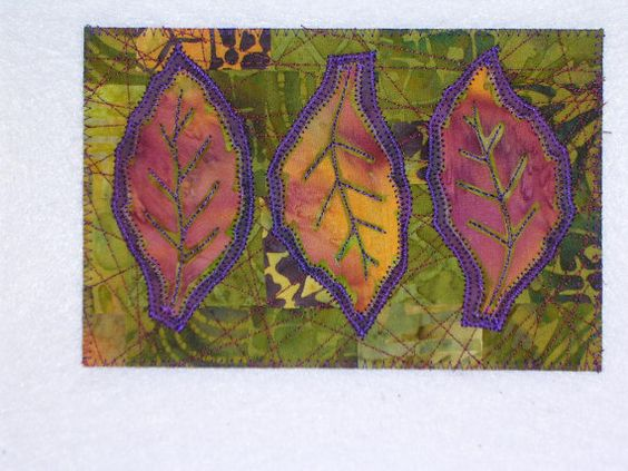 Leaves Art Quilt  4 x 6 Three Leaves bali greens