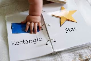 Shape recognition book! Laminate and use velcro to attach/detach pieces. (this site has a downloadable/printable PDF)