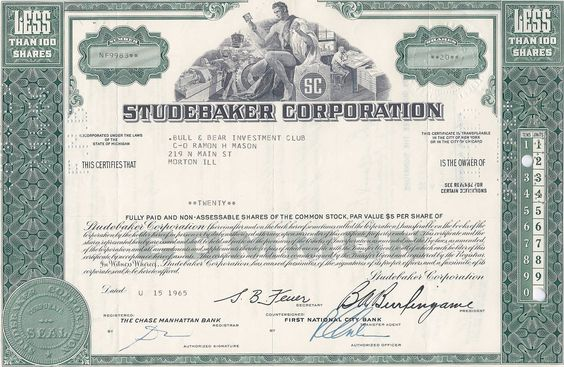 Dana Corporation bond certificate $5000 1971 old stock - example of share certificate