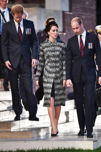 Catherine, Duchess of Cambridge, Prince William, Duke of Cambridge and Prince Harry attend the Somme Centenary commemorations at the Thiepval Memorial on June 30, 2016 in Albert, France.: