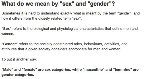 Meanings of sex and gender