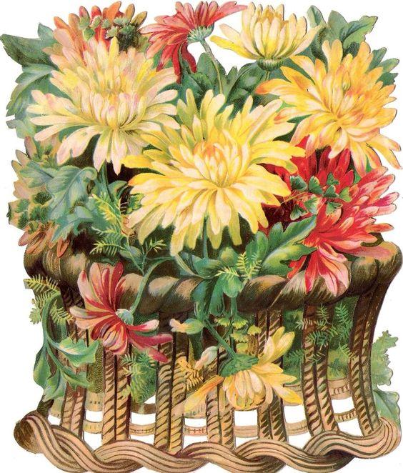 Oblaten Glanzbild scrap die cut Blumen  XL 20cm Korb Astern  | eBay