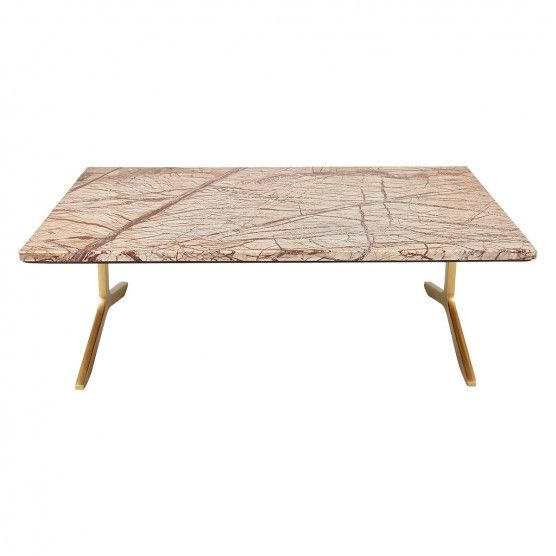 Omara Brown Marble Coffee Table With Brass Legs Buy Now At