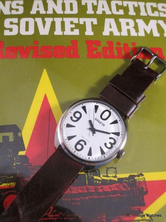 "NEW DCVW AUCTION: Vintage 1980's Raketa ""Big Zero"" Manual Watch, w/Handmade Leather Strap"
