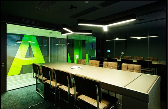Cool Lighting In This Techy Conference Room #light #conference #office  #design #