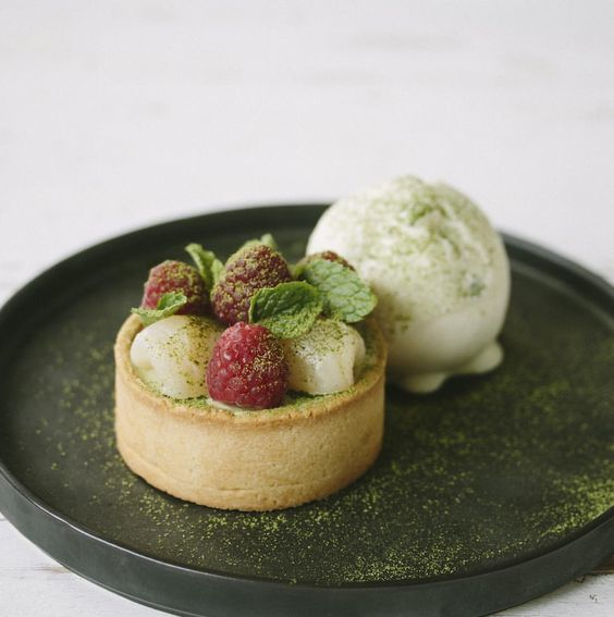 New special dish starts tomorrow! Green tea tart with lychee yogurt sorbet. You'll be surprised how the combination works out so well!   #roastspecials #specialofthemonth #dessert #omnomnom #roastbkk