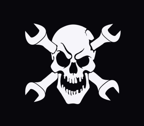"Evil Skull & Wrench Crossbones Auto Decal Sticker on ""Easy ..."