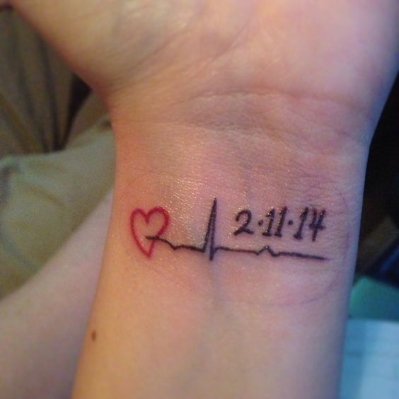 My memorial tattoo for nana this is her last heartbeat for Small memorial tattoos
