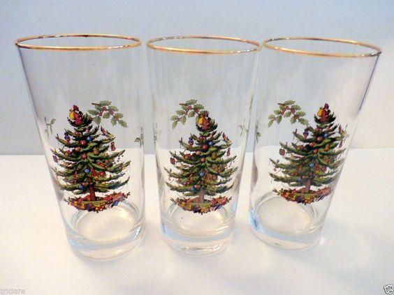 Spode Christmas Tree Highball Glasses Drinking Glass Set Of 3
