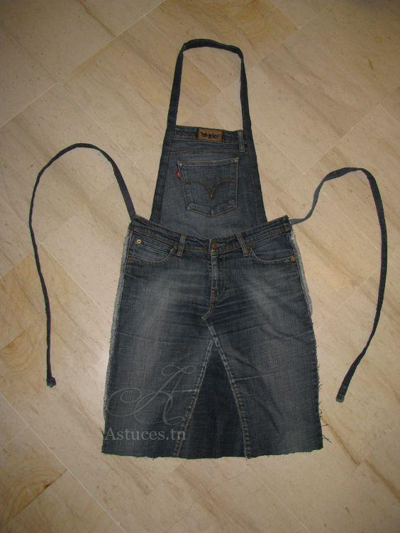 transformer un vieux jeans en tablier de cuisine couture diy pinterest tabliers de jean. Black Bedroom Furniture Sets. Home Design Ideas