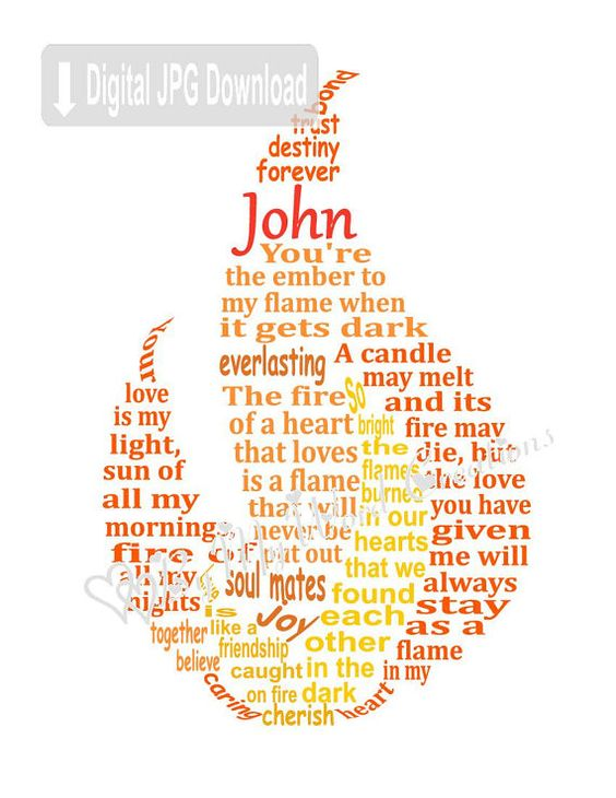 Fire Art Flame Art Love Word Art Husband Wife by ByMyWordCreations