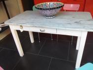 tavolo cucina bianco con piano in marmo anni 50 | fichimori ... - Tavolo Cucina Bianco