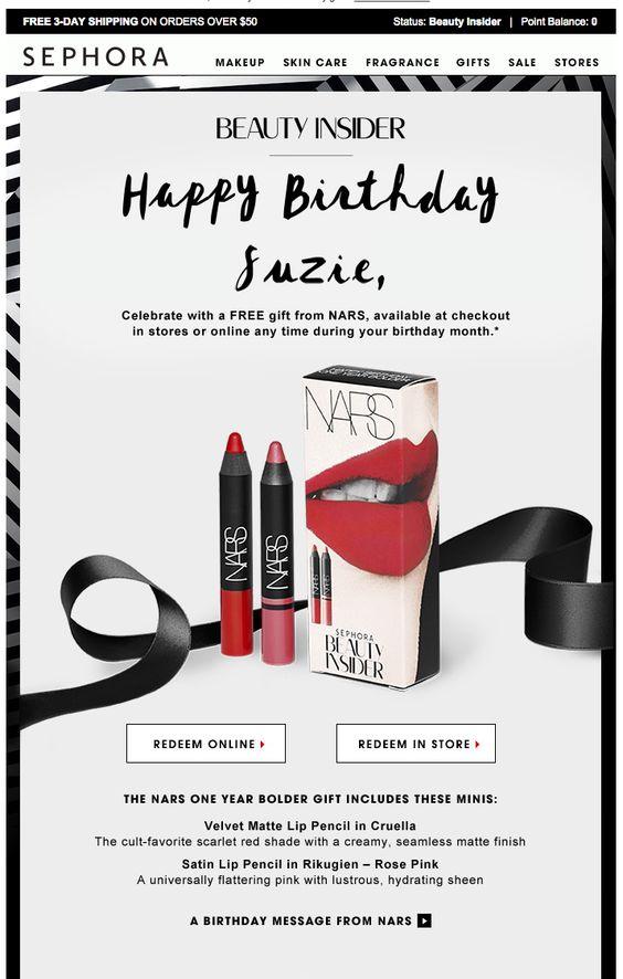 sephora happy birthday eblast. subject line: Unwrap your NARS birthday gift