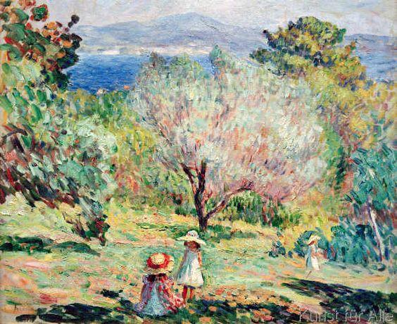 Henri Lebasque - Fillettes dans un paysage mediterraneen