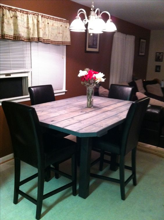 Homemade high top table using 2x4 39 s for the home for Dining room table 2x4
