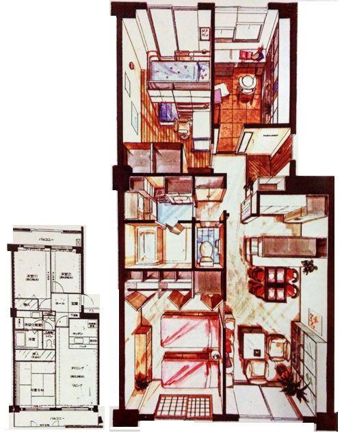 マンションリフォームプランの平面図 鳥瞰パース 平面図 建築