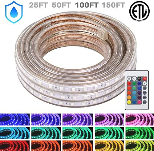Best Seller Wyzworks Led Rope Lights 100 Ft Waterproof Color Changing Strip Light Outdoor Indoor Use Flexible Dimmable Lighting Remote Controller 16 Colo In 2020 Led Rope Lights Led Rope Strip Lighting