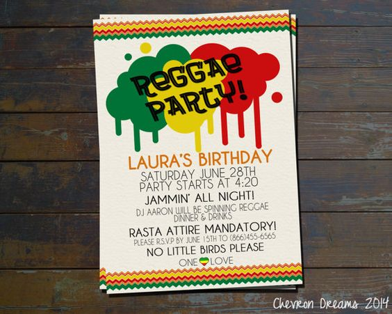 Bob Marley Invitations Bob Marley Birthday Party by FaeriePoppins – Jamaican Party Invitations