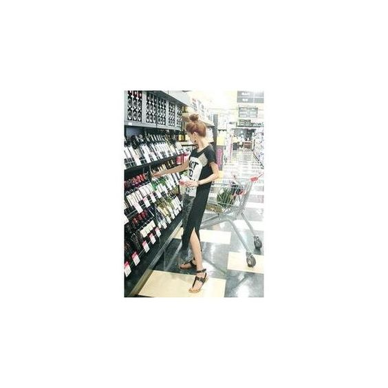 Slit-Hem Lettering T-Shirt Dress ($50) ❤ liked on Polyvore featuring dresses, women, cotton dress, cotton tee dress, t shirt dress, slit dress and cotton t shirt dress