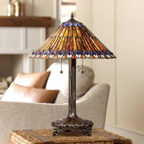 Peacock Motif Robert Louis Tiffany Style Table Lamp V3740