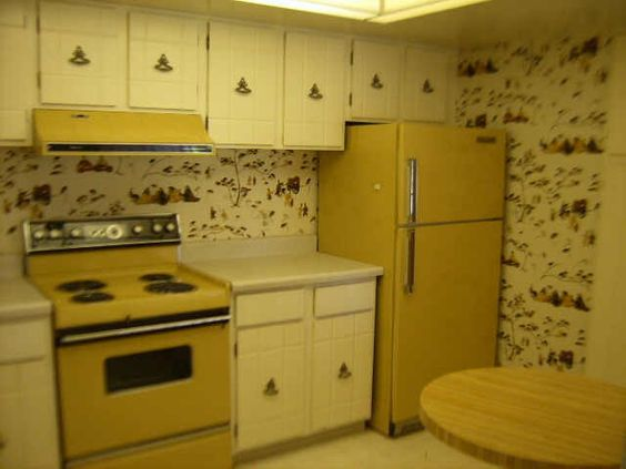 decor green stove yellow orange gold kitchen 1970s kitchen 70s kitchen