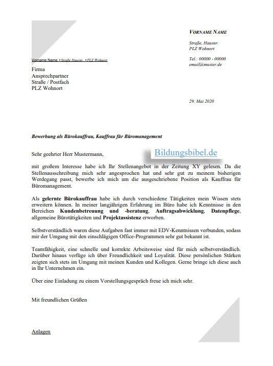 Bewerbung Kauffrau Fur Buromanagement Burokauffrau Vorlage Muster In 2020 Bewerbung Schreiben Bewerbungsschreiben Bewerbung