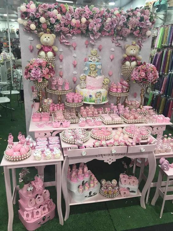 Mesas De Postres Para Baby Shower Modernos De Niña Baby Shower Decorations Decoracion Baby Shower Candy Buffet
