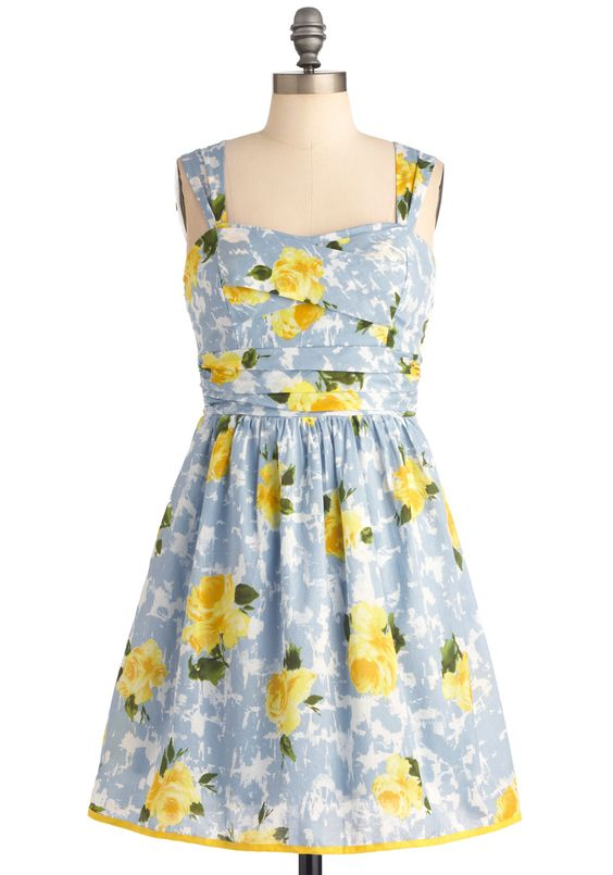 Seen in the Clouds Dress - Multi, Yellow, Blue, Multi, Floral, Party, A-line, Tank top (2 thick straps), Spring, Mid-length, Fit & Flare