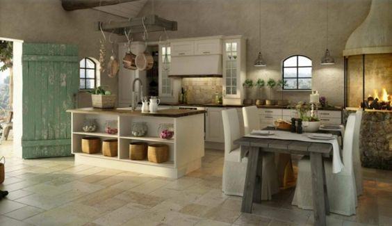 Kücheninsel, Kamin, Fliesenboden, Putz