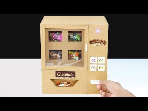 How To Make Mini Candy Vending Machine From Cardboard Diy Vending Machine Youtube Mini Vending Machine Vending Machine Diy Diy Projects Gifts