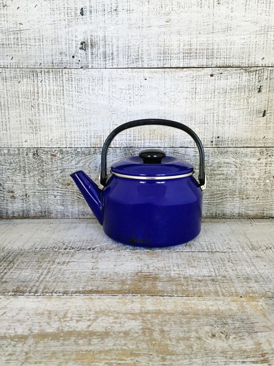 Teapot Vintage Mid Century Metal Tea Pot Vintage Enamel Teapot with Resin Handle Tea Kettle Retro Teapot Mid Century Kitchen Decor by TheDustyOldShack on Etsy