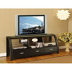 @Overstock - Materials: Wood, veneer, MDF, glass  Finish: Black  Three (3) drawers  http://www.overstock.com/Home-Garden/Grove-Black-60-inch-3-drawer-TV-Entertainment-Cabinet/6237343/product.html?CID=214117 $287.99