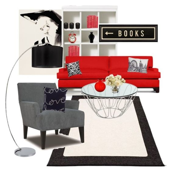 """Red living room"" by no-ordinary-face ❤ liked on Polyvore featuring interior, interiors, interior design, home, home decor, interior decorating, Christian Dior Haute Couture, Martha Stewart, Pappelina and Thrive"