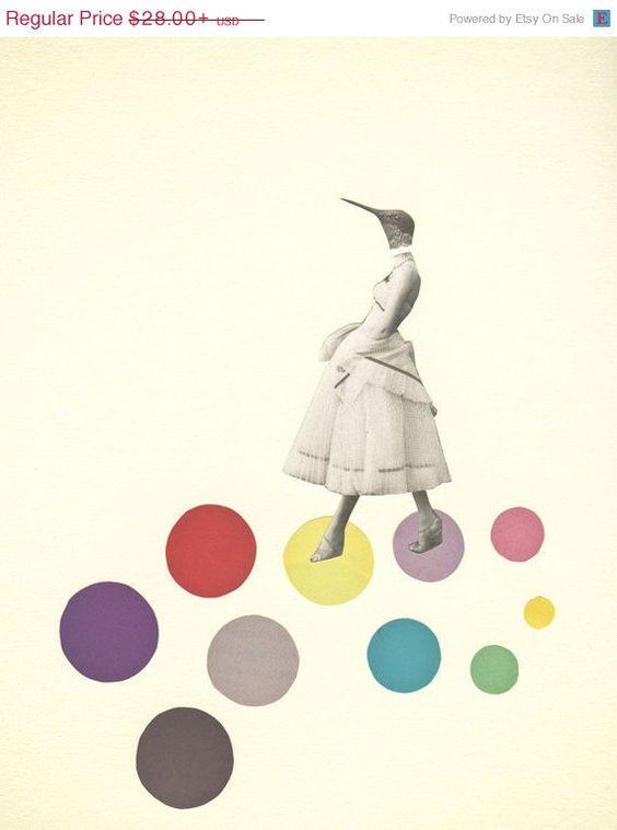 CIJ SALE Bird Art Print, Portrait Art, Female Figure, Pop Surrealism, Colorful Decor, Feminine Art, Giclee Print - Bird Lady