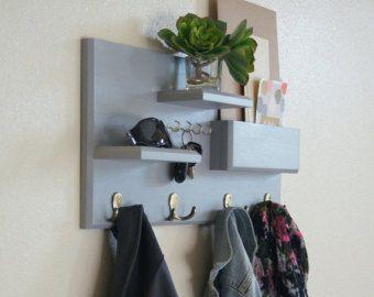 Estantes con ganchos para llaves y escudo flotantes ganchos de montaje de la pared de entrada - Ganchos para estanterias ...