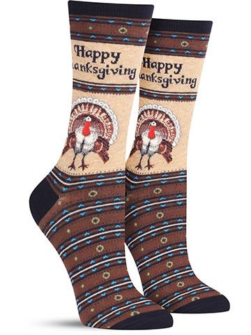 Now that is a bird worthy of a pardon! The turkeys on these elegant but fun Thanksgiving socks are proudly displaying their plumage for all to see, perhaps with the hope of being spared from the upcom