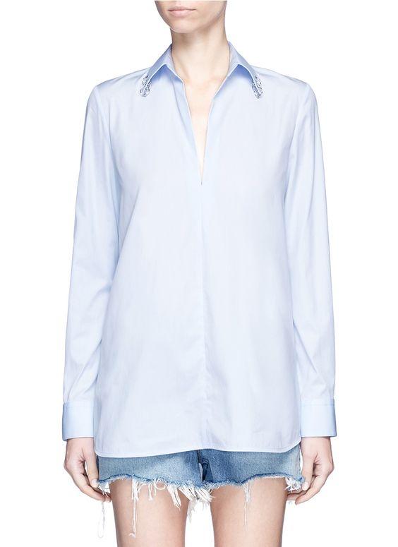 ALEXANDER WANG Pierced collar cotton poplin shirt. #alexanderwang #cloth #shirt