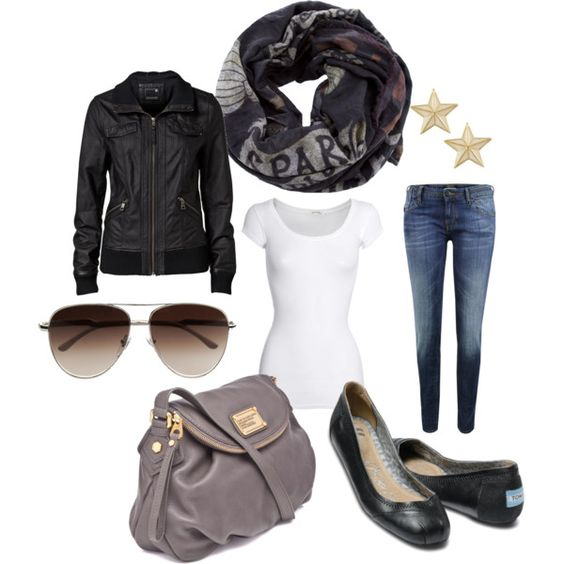 White T, Bree Leather Bomber, skinny jean, aviators, Rude Riders printed scarf, Miso Stud Earrings, Marc Jacobs Body bag, and TOMS Black Leather Ballet Flats love
